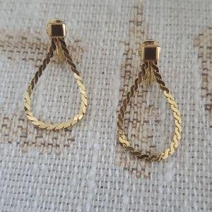 Monet Link Chain Large Drop Clip On Earrings